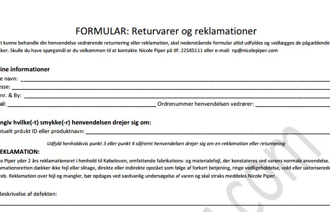 Retur-formular-nicole-piper